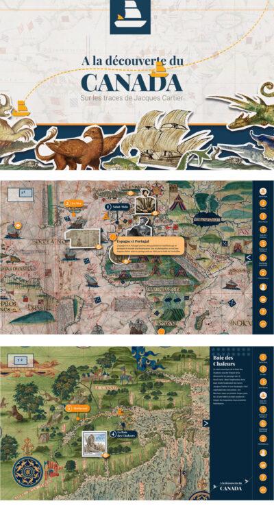 Cartes anciennes sur table tactile « à la découverte du Canada »