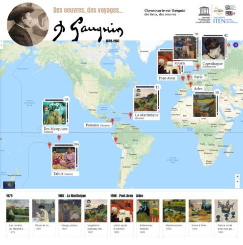 Chronocarte sur Paul Gauguin. Les oeuvres sont affichées sur leur lieu de création (Pont Aven, Arles, Tahiti, les îles Marquises...).
