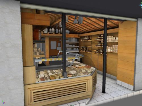 Vue 3D de la boutique du fromager